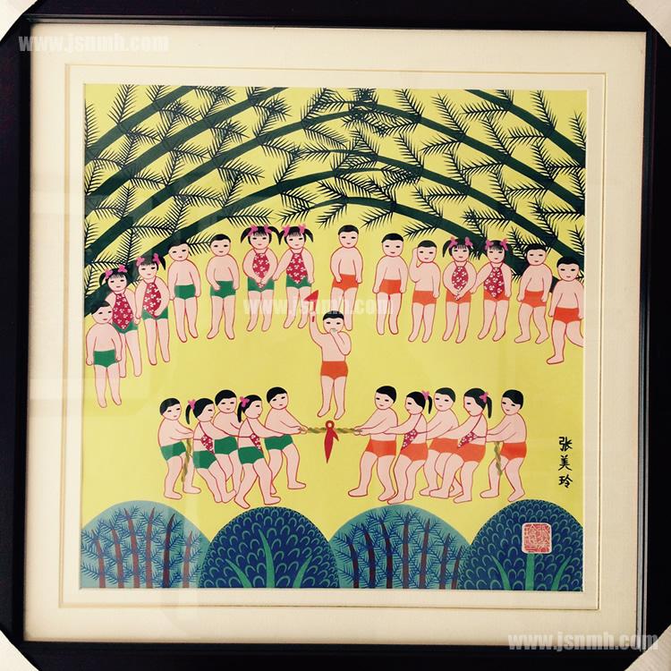 金山农民画《儿童拔河队》张美玲作品