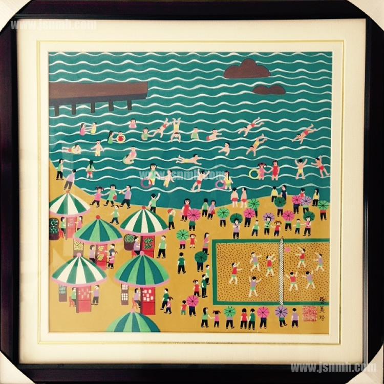 金山农民画《沙滩》张美玲作品
