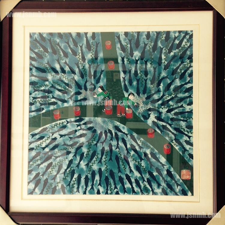 金山农民画《养鱼塘》张美玲作品