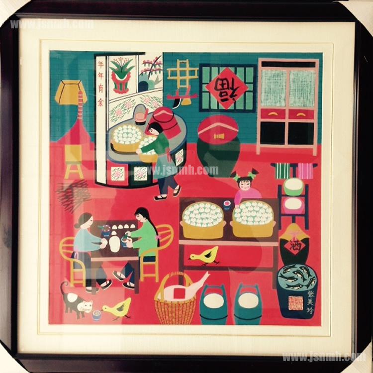 金山农民画《做团子》(红底) 张美玲作品