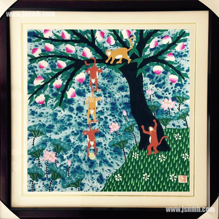 金山农民画《猴子捞月》张美红作品