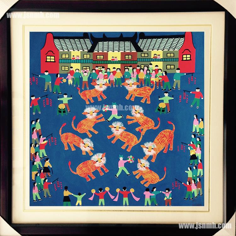 金山农民画《舞狮》张美红作品