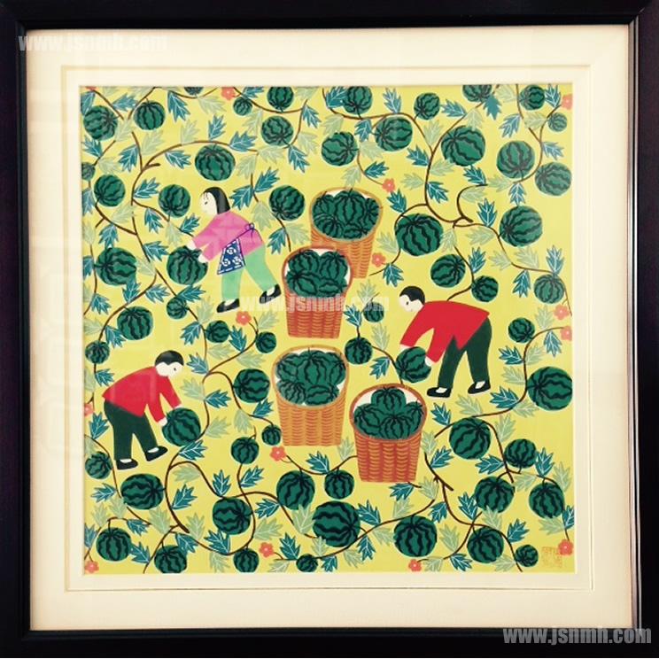金山农民画《采西瓜》张美红作品