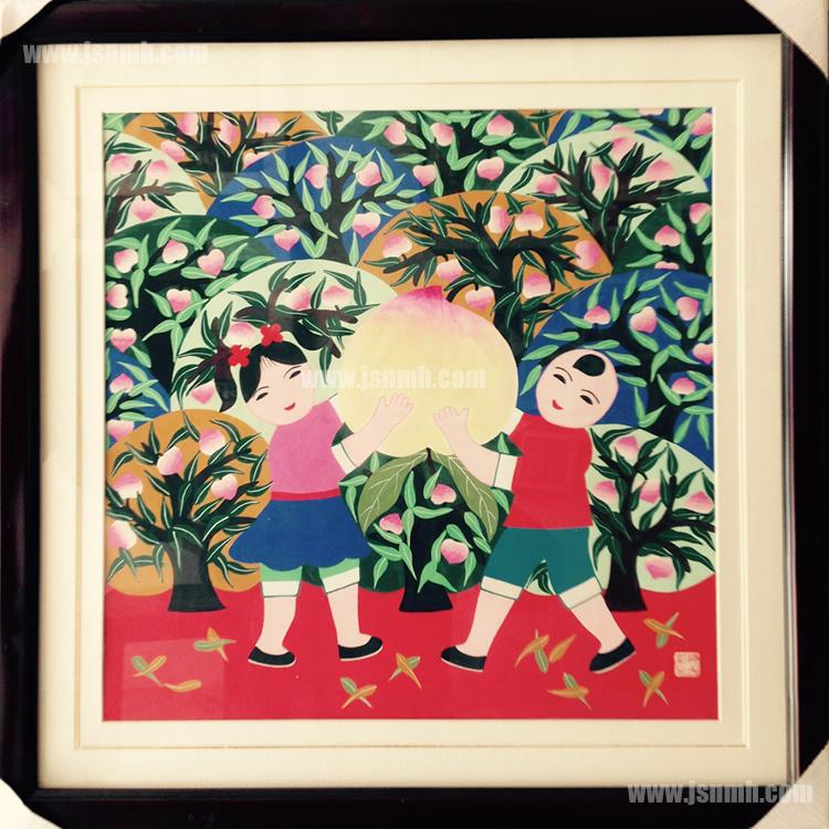 金山农民画《桃子丰收》张美红作品