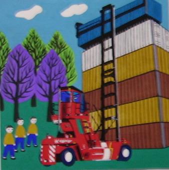 为外企KALAMR(卡尔玛)创作金山农民画风格产品介绍
